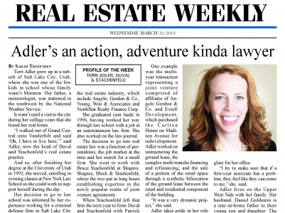 Terri Adler Profiled in Real Estate Weekly
