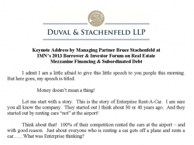 Managing Partner Bruce Stachenfeld Gives Key Note Address at November Mezz Conference