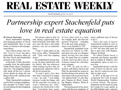 Bruce Stachenfeld Profiled in Real Estate Weekly