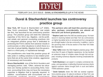 Duval & Stachenfeld Launches Tax Controversy Practice Group