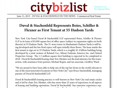 Duval & Stachenfeld Represents Boies, Schiller & Flexner as First Tenant at 55 Hudson Yards