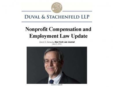 Duval & Stachenfeld's David Samuels, Chair of the Tax Exempt Organizations Practice Group, pens article for the New York Law Journal.