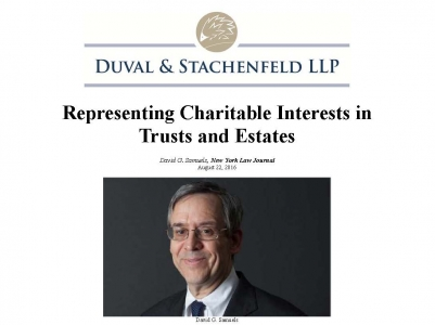 Duval & Stachenfeld's David Samuels, Chair of the Tax Exempt Organizations Practice Group, pens article on Charitable Interests