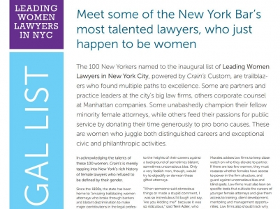 Terri Adler & Jessica Millett Named to Crain's Leading Women Lawyers in New York City