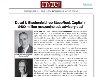 Duval & Stachenfeld rep SteepRock Capital in  $400 million mezzanine sub advisory deal